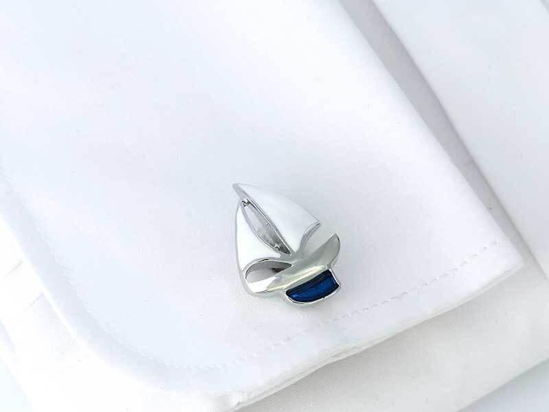 Spinki do mankietów - statki z białymi żaglami - żaglówki U259