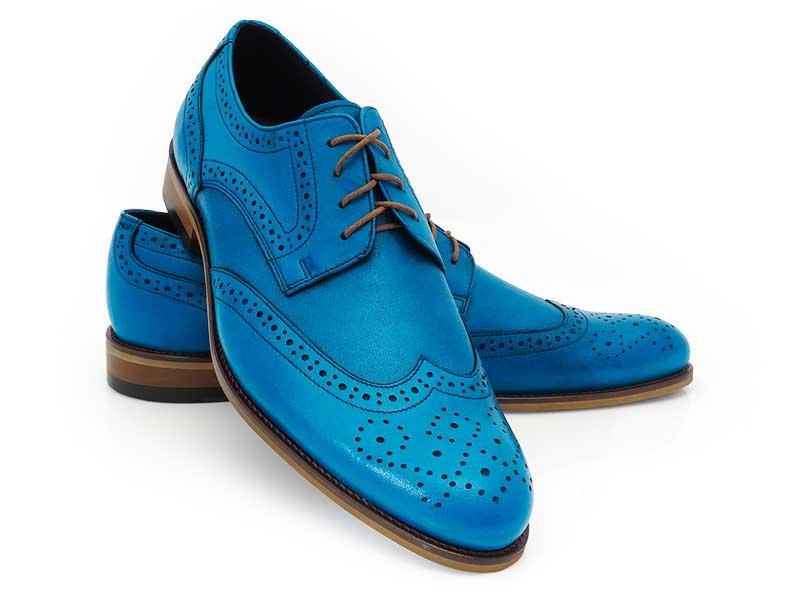 Niebieskie męskie buty wizytowe - brogsy T155