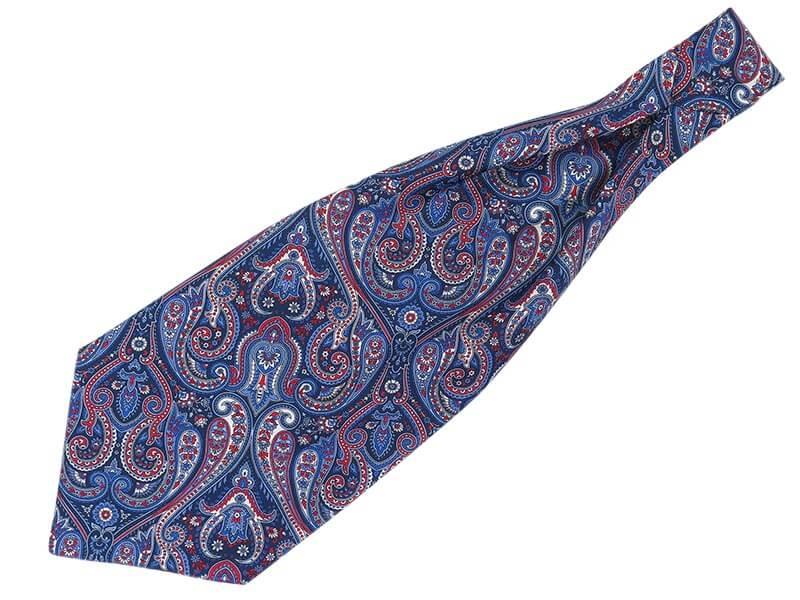 Granatowy fular w czerwono-błękitny paisley F123