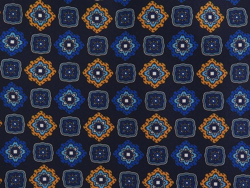 Granatowy fular w geometryczne niebieskie i pomarańczowe kwiaty F125