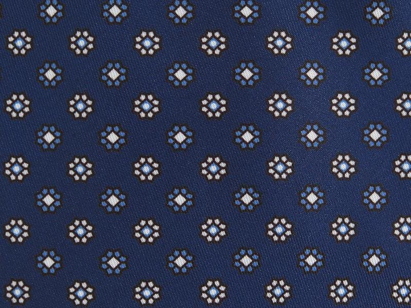 Granatowy fular w geometryczne kwiatki F127