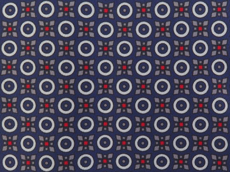 Niebieski fular w geometryczny wzór - kółka, kwiaty F128