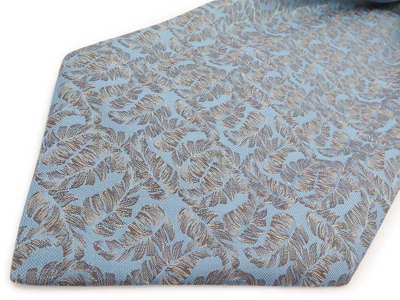 Niebieski/błękitny fular we florystyczny wzór - listki F132