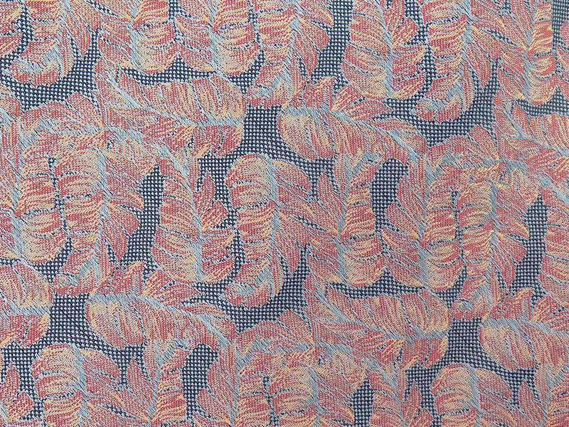 Niebieski/błękitny fular we florystyczny wzór - listki F134