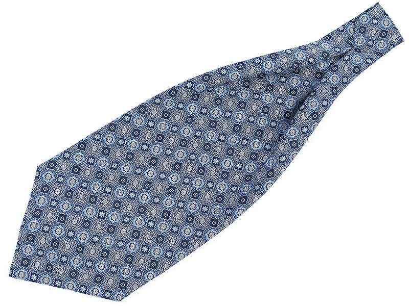 Granatowo-niebieski fular w orientalny wzór - kwiaty F142