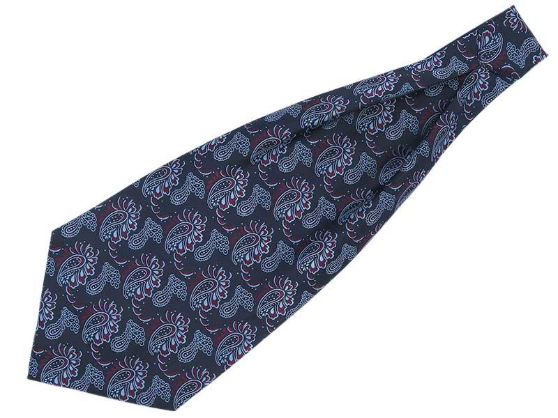 Granatowy fular w błękitno-bordowy wzór - paisley F144