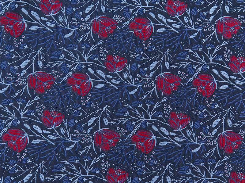 Granatowo-czerwony fular w kwiaty F145