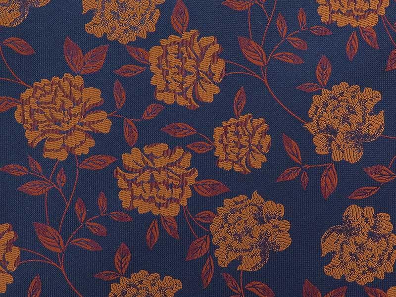 Granatowo-miedziany fular w kwiaty F148