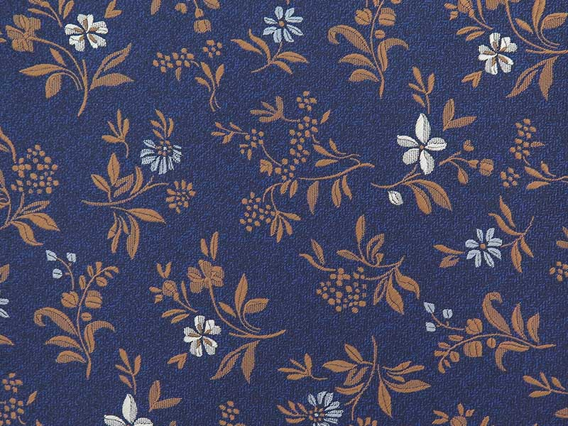 Granatowo-miedziany fular w kwiaty F147