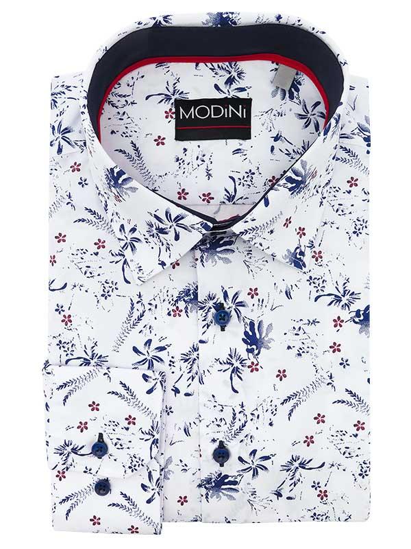 Biała koszula w kwiatki A48