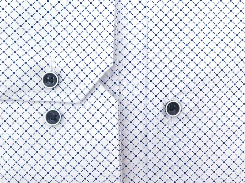 Biała koszula męska w granatową kratkę A50