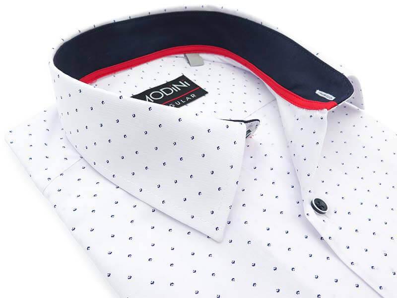 Biała koszula męska z krótkim rękawem w granatowy drobny wzór MK11