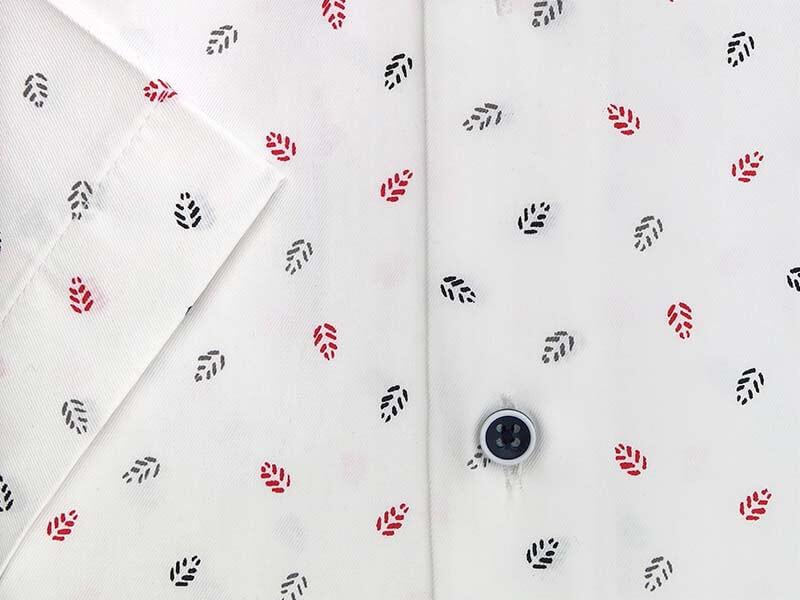 Biała koszula męska z krótkim rękawem we wzór - listki MK12