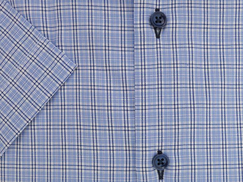 Błękitna koszula w kratkę, z krótkim rękawem MK14