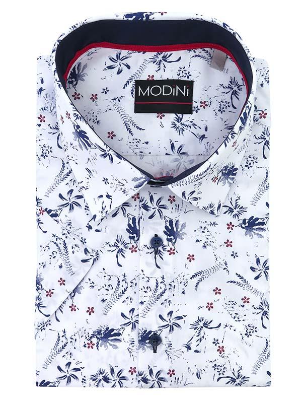 Biała koszula w kwiatki, krótki rękaw MK15