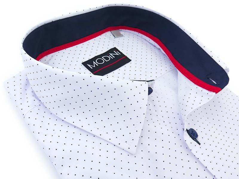 Biała koszula w granatowe kropki, krótki rękaw MK16