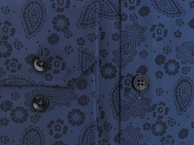 Granatowa koszula we wzór - paisley, kwiaty LR02