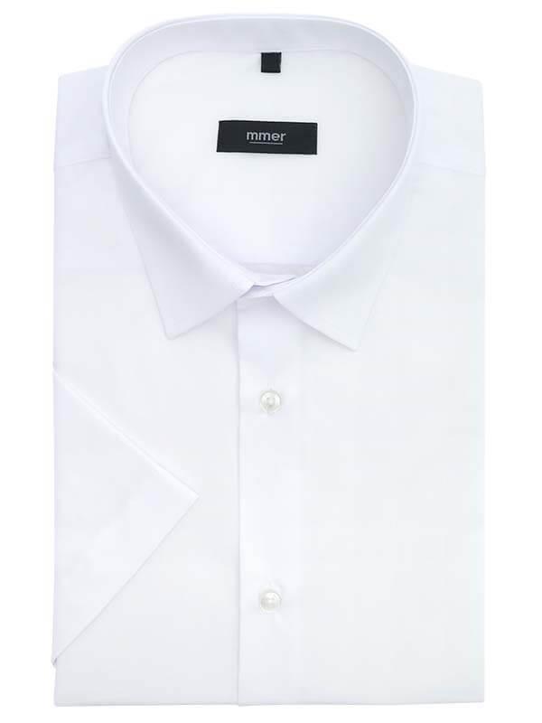 Biała koszula męska Mmer krótki rękaw 001