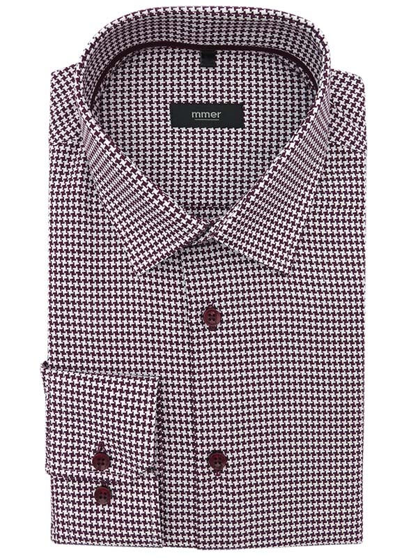 Bordowa koszula we wzór - kratka 833