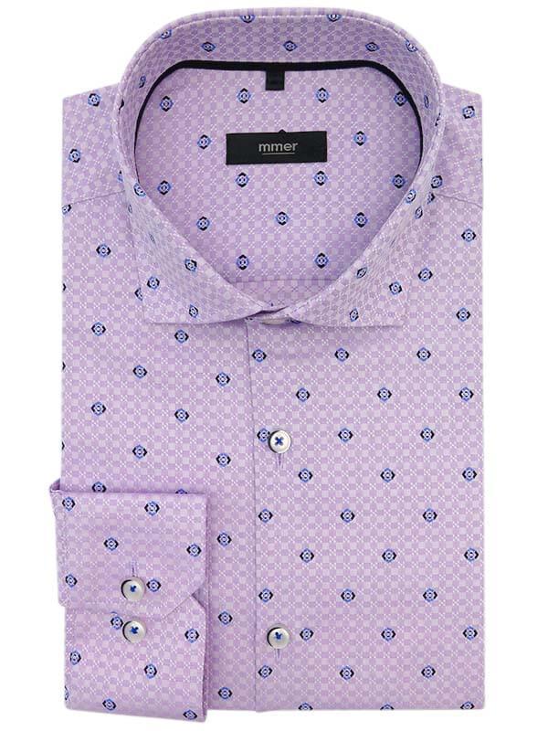 Wrzosowa koszula z niebieskim wzorkiem C307