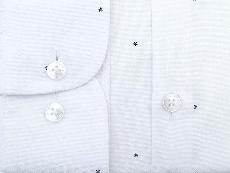 Biała koszula w granatowe drobne kwiatki D032