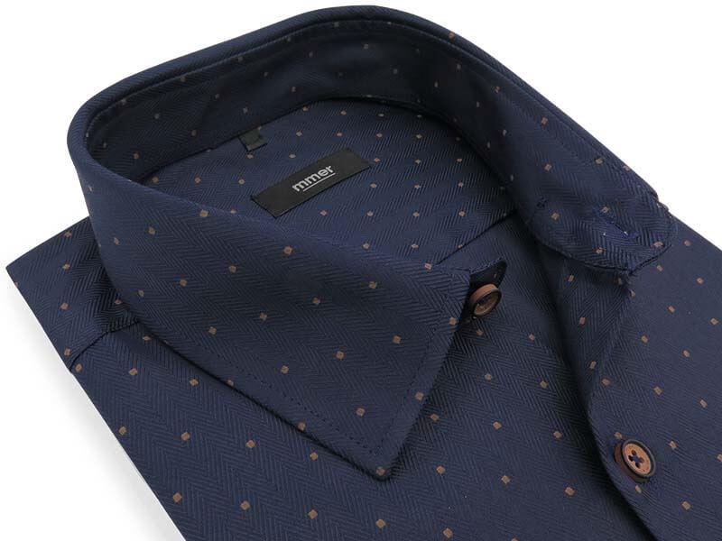 Granatowa koszula o splocie w jodełkę i w brązowe kwadraciki D036