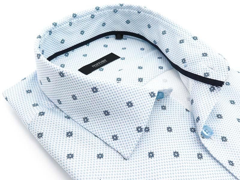 Biała koszula w drobny niebieski wzór E010