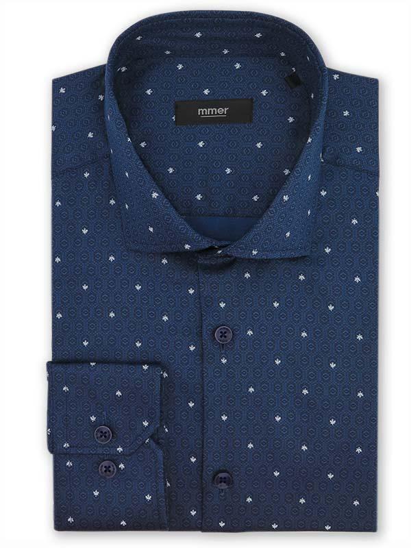 Niebieska koszula w geometryczny wzór i liście E013