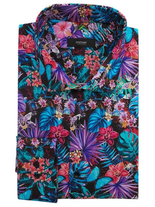 Kolorowa koszula w tropikalne kwiaty E022