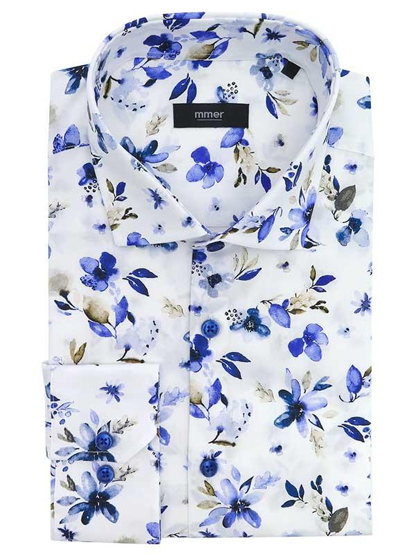 Biała koszula Mmer we wzór - kwiaty E038