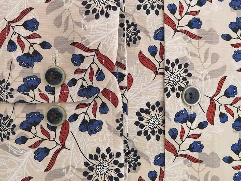 Beżowa koszula w kwiaty Mmer E055