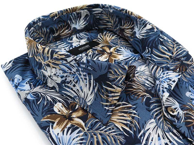 Niebieska koszula w tropikalne kwiaty E056