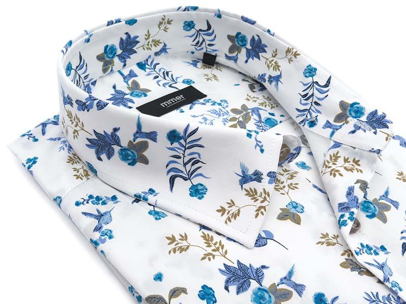 Biała koszula z krótkim rękawem, we wzór - kwiaty, ptaszki E078