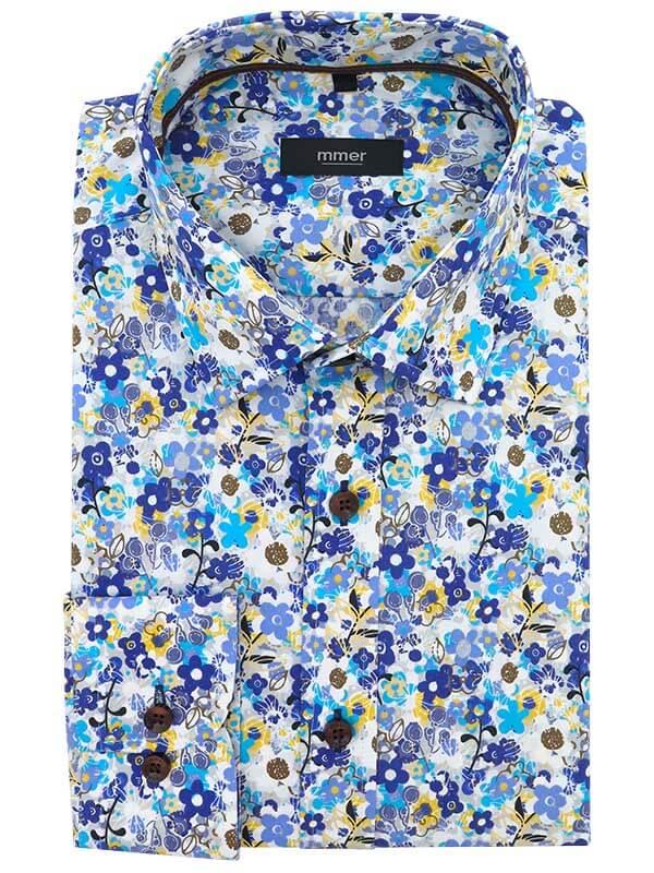 Biała koszula w niebiesko-żółte kwiaty Mmer E109