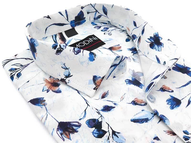Biała koszula w granatowo-brązowe kwiaty Y19