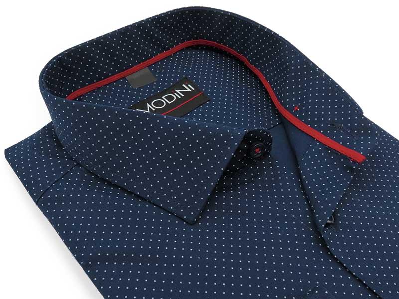 Granatowa koszula w białe kropki i z czerwonymi kontrastami Y20