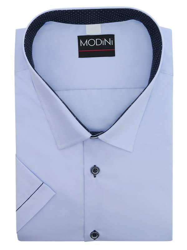 Błękitna koszula z krótkim rękawem i kontrastami w kropki YK04