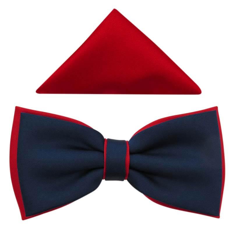 Granatowo-czerwona muszka męska szeroka B83