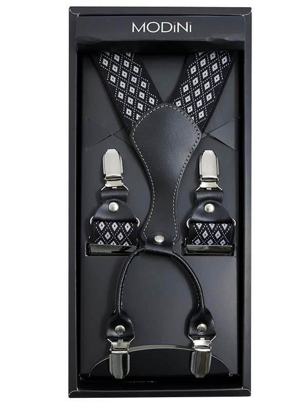 Czarne szelki męskie w białe romby SZ116