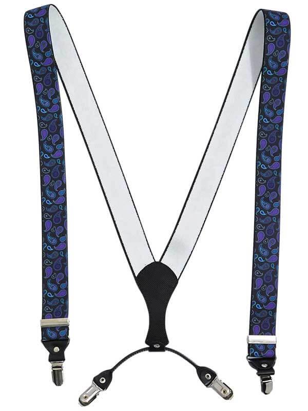 Czarne szelki męskie w fioletowo-niebieski paisley SZ119