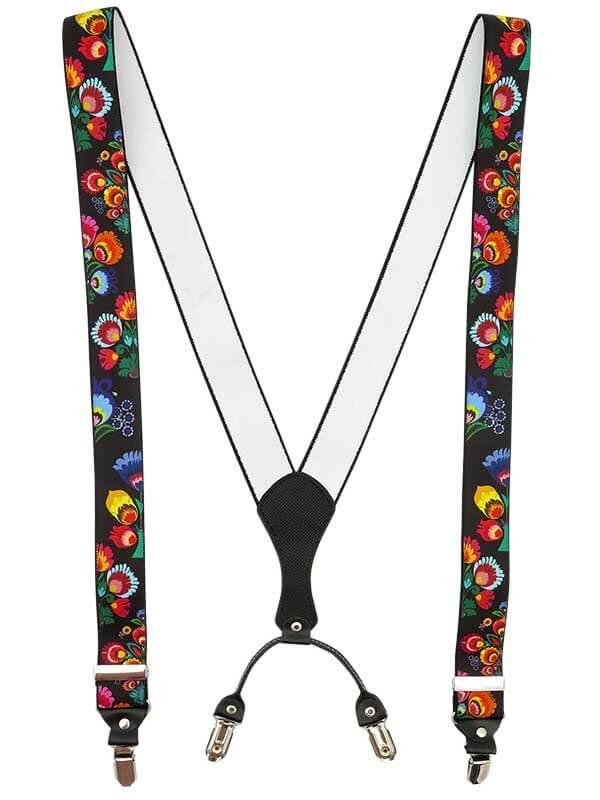 Czarne szelki we wzór łowicki/folkowy - kwiaty SZ120