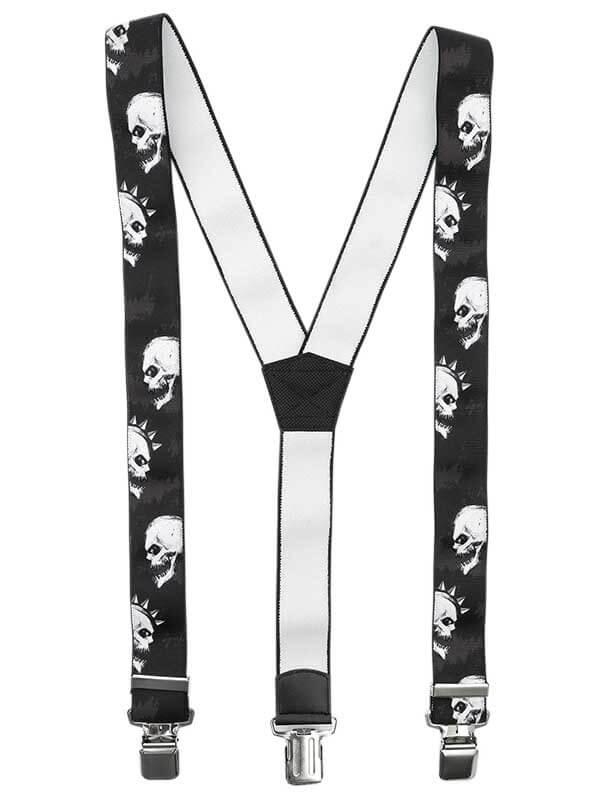Ciemne szelki do spodni - czaszki, punk SZ123