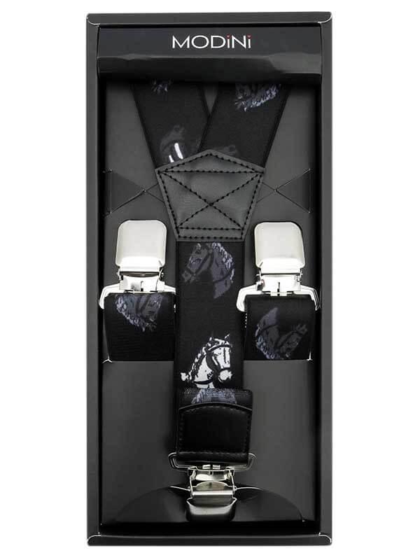 Czarne szerokie szelki męskie w konie SZ80B