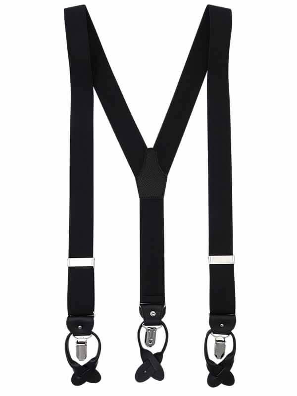 Czarne szelki męskie do spodni na guziki G1