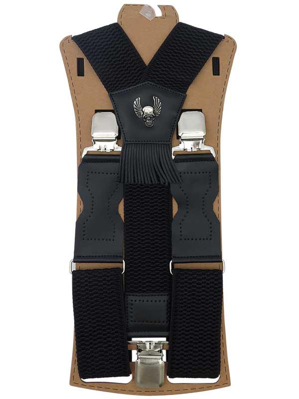 Szerokie czarne szelki męskie do spodni z czaszkami T17