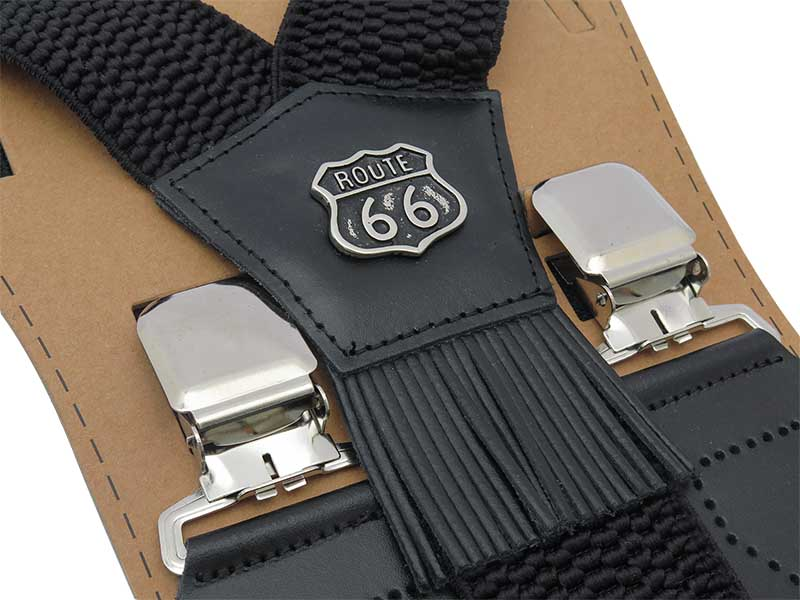 Szerokie czarne szelki męskie do spodni - Route 66 T18