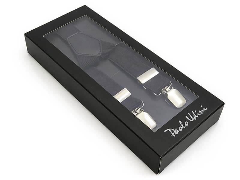 Czarne wąskie szelki Unisex - 2,5cm X1