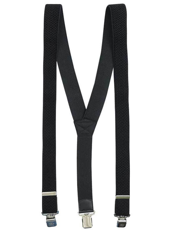 Szerokie czarne szelki męskie do spodni XL129