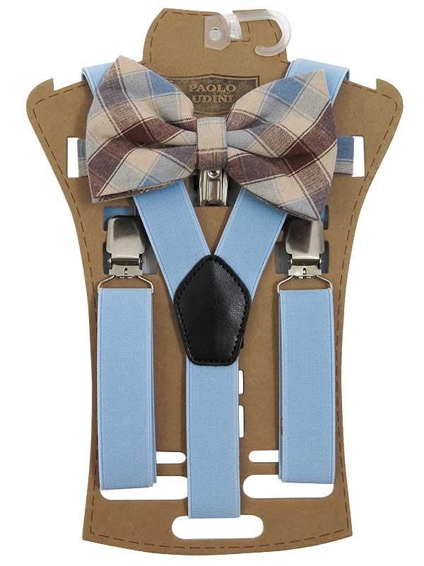 Zestaw - błękitne szelki do spodni imucha w kratkę XM7