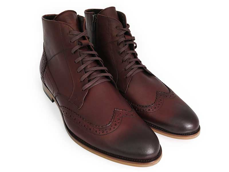 Skórzane brązowe buty męskie zimowe BZ11